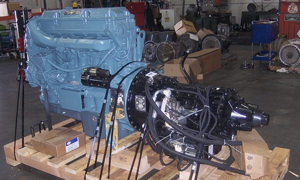 Off Highway Madill Yarder Power Pack Transmission in US Transmissions Garage Bay